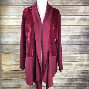 89th & Madison Plus Long Open Cardigan Wine Sz 1X